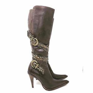 Antik Denim Brown Leather Tall Boots 8.5